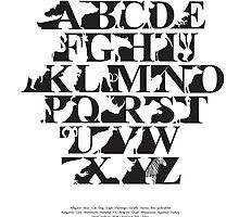 Alphabet zoo black and white by Budi Kwan