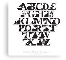 Alphabet zoo black and white Canvas Print