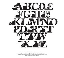 Alphabet zoo black and white Photographic Print