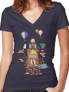 Daydreaming On The Garden Gate Women's Fitted V-Neck T-Shirt