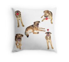 Puupy Antics Collage Throw Pillow