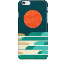 Red moon and chasing waves iPhone Case/Skin