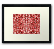 Flowers Pattern Collage in Coral and White Colors Framed Print