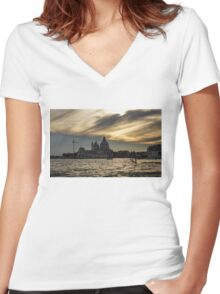 Watercolor Sky Over Venice Women's Fitted V-Neck T-Shirt
