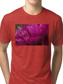 Petals and Drops - Magenta Glow Peony Tri-blend T-Shirt