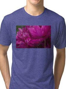 Petals and Drops - Magenta Glow Peony Tri-blend T-Shirt