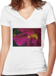Petals and Drops - Hot Pink and Yellow Women's Fitted V-Neck T-Shirt