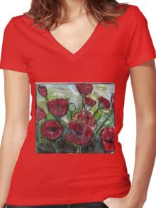 Roses In Bloom Women's Fitted V-Neck T-Shirt