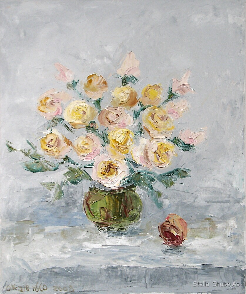 White roses on the table by Stella  Shube As