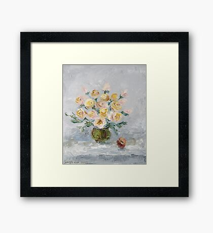 White roses on the table Framed Print
