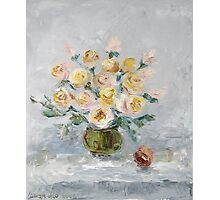 White roses on the table Photographic Print