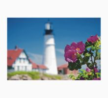 Wilded Roses at Portland Head Lighthouse  One Piece - Long Sleeve