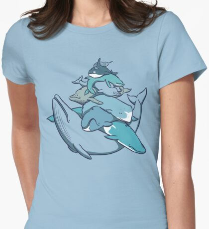 Stacks on Blue! Womens Fitted T-Shirt