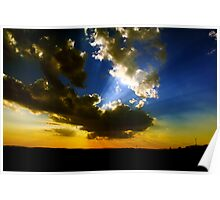 Sunset with Sun Rays Poster