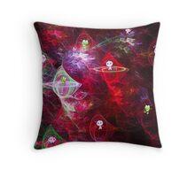 Cute Space Aliens in Spaceships ~Crd Throw Pillow