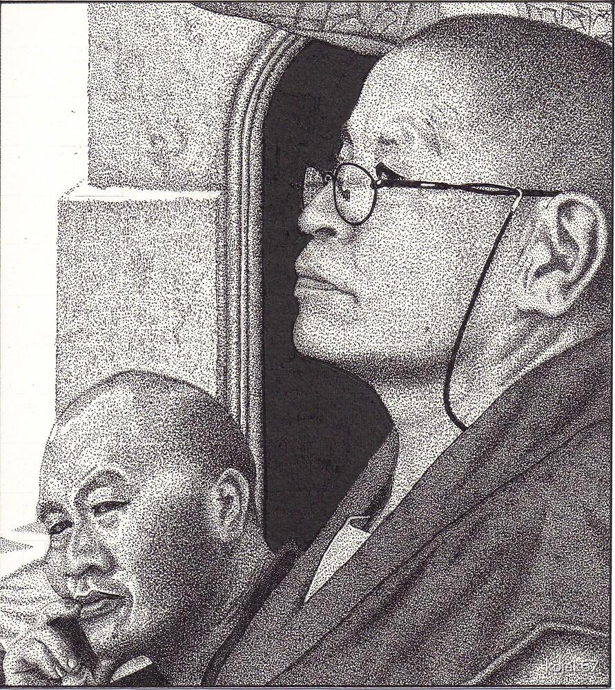 Buddhist Monk & Nun, Mahabodhi Temple, Bodhgaya, Bihar, India, Ink Drawing by RIYAZ POCKETWALA