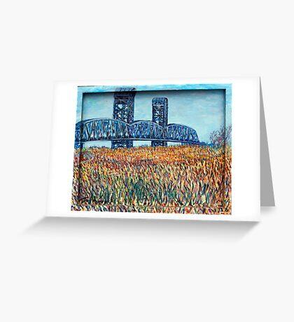 Blue Border Bridge Greeting Card
