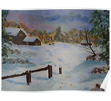 The farm in winter, acrylic Poster