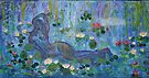 Cezanne nude ,Awakens in Monet,s Garden   Acrylic on canvas by eoconnor
