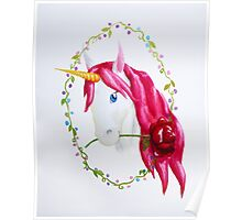 Pink Mane Unicorn with Rose Poster