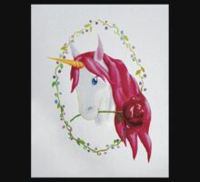 Pink Mane Unicorn with Rose Kids Tee