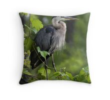 Great Blue Heron Thinking Green Throw Pillow