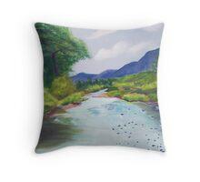 Creekside ~ Southwestern Spring Landscape ~ Oil Throw Pillow