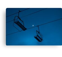 Chairlift by moonlight Canvas Print