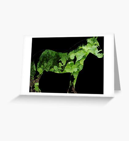 Green Horse Greeting Card