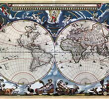 Antique old world map 1664 Restored by Carsten Reisinger