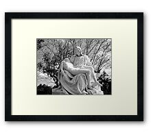 Mary and Jesus after the crucifixion statue (Michaelangelo's Pieta) Framed Print