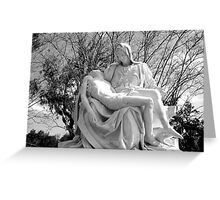 Mary and Jesus after the crucifixion statue (Michaelangelo's Pieta) Greeting Card