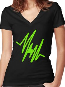 Green Pulse Women's Fitted V-Neck T-Shirt