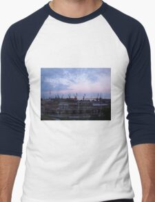 View of a cargo seaport against the evening cloudy sky Men's Baseball ¾ T-Shirt