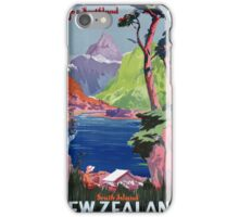 South Island New Zealand Vintage Poster Restored iPhone Case/Skin