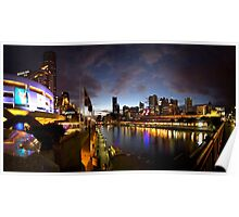 Melbourne skyline at night Poster