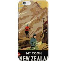 New Zealand Mt. Cook Vintage Poster Restored iPhone Case/Skin