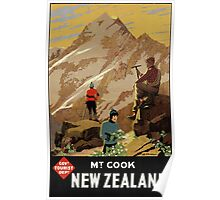 New Zealand Mt. Cook Vintage Poster Restored Poster