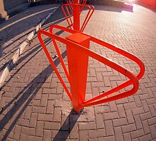 Parking for bicycles in the street closeup by vladromensky
