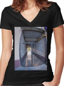 The entrance to the apartment building Women's Fitted V-Neck T-Shirt