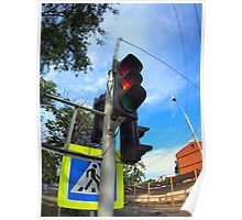 Bottom view on traffic light and road sign closeup  Poster