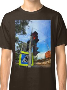 Bottom view on traffic light and road sign closeup  Classic T-Shirt