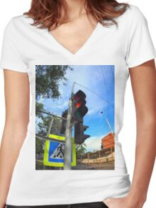 Bottom view on traffic light and road sign closeup  Women's Fitted V-Neck T-Shirt