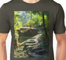 Large stone steps surrounded by trees on the path in the park Unisex T-Shirt