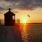 Sunset At Castle Rock Lighthouse, Newport RI by Kenric A. Prescott