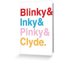 The Original Fab Four - Blinky, Inky, Pinky, Clyde Greeting Card