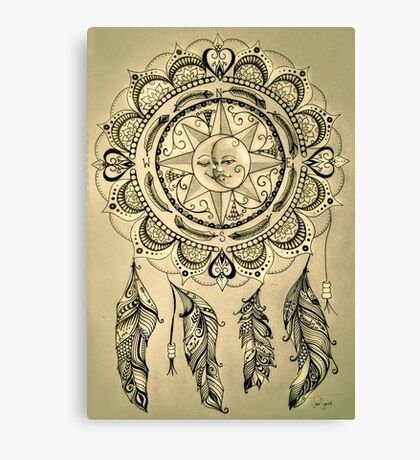 Bohemian Compass Rose Mandala Sepia Ink Canvas Print