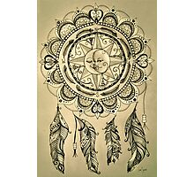 Bohemian Compass Rose Mandala Sepia Ink Photographic Print