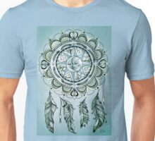Bohemian Compass Rose Mandala Blue ink Unisex T-Shirt