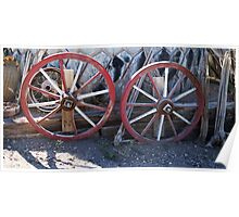 Old wagon wheels. Poster